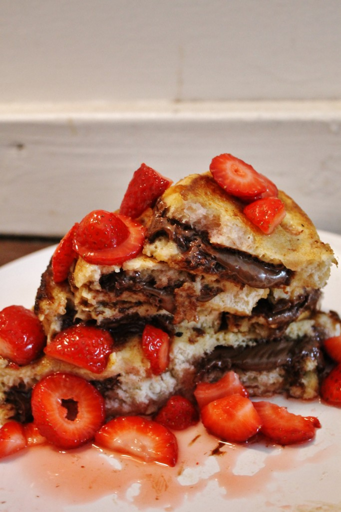 nutella stuffed french toast with macerated strawberries |www.whatkumquat.com