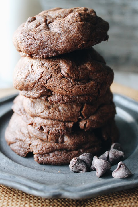 Nutella-stuffed double chocolate chip cookies [www.whatkumquat.com]