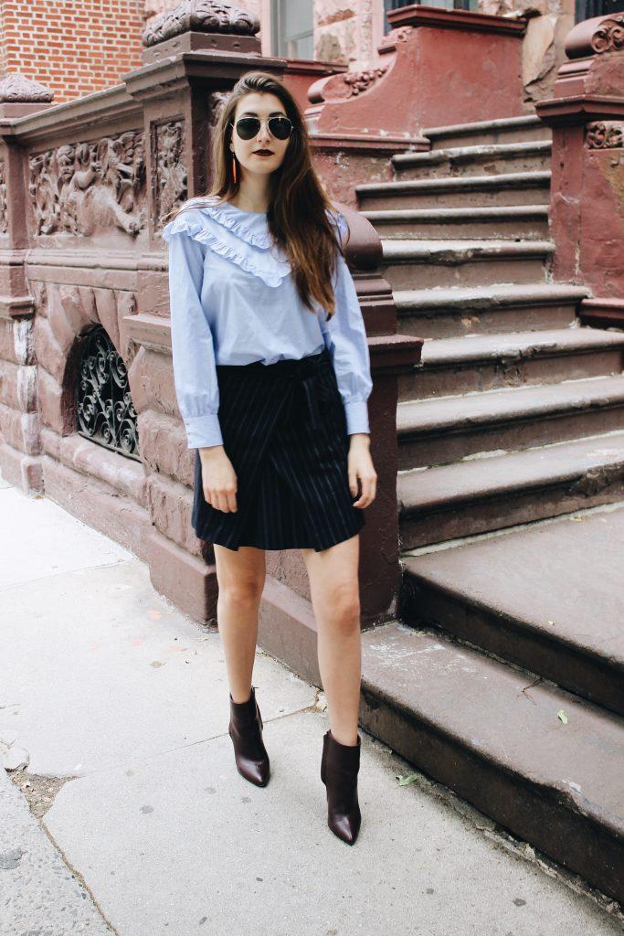 Pinstripes + Ruffles New York Street Style [www.whatkumquat.com]
