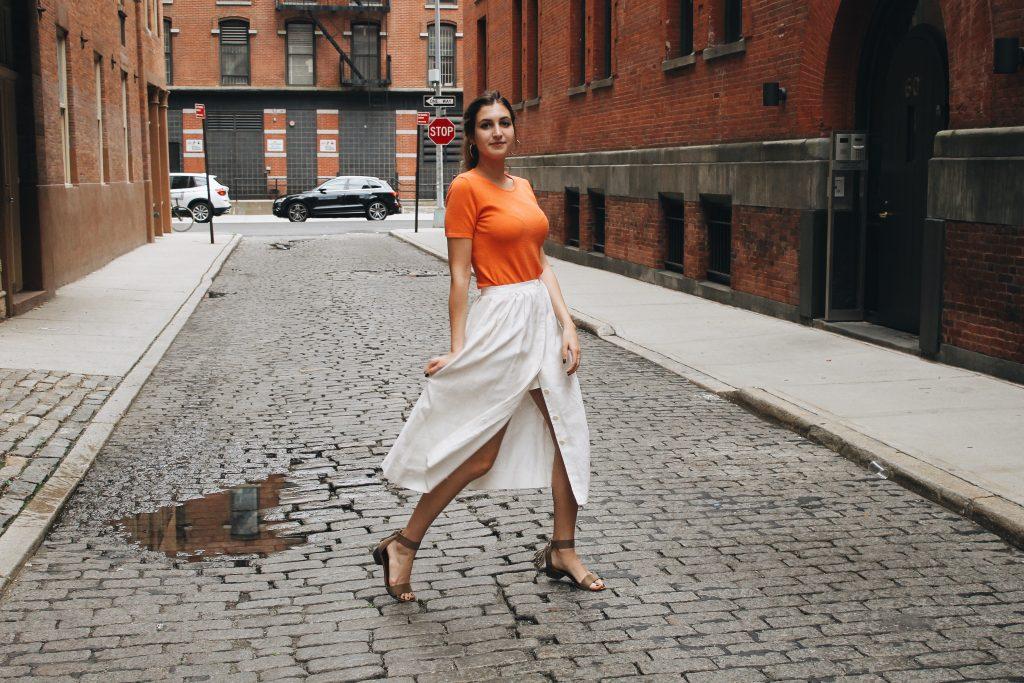 How To Style A Linen Midi Skirt [www.whatkumquat.com]