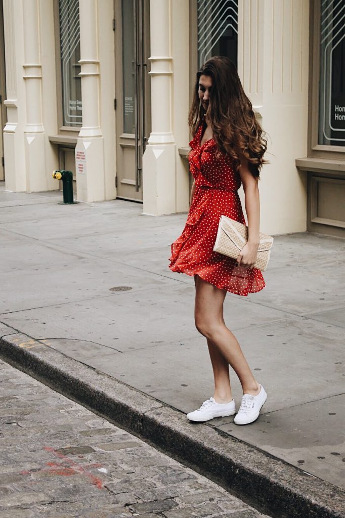 Red Polka Dot Dress in Soho [www.whatkumquat.com]