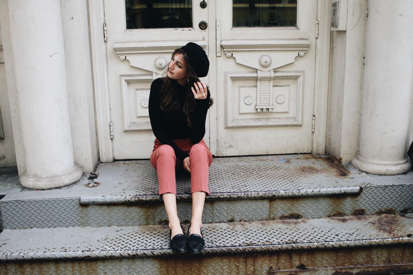 Pink Trousers & Beret | www.whatkumquat.com