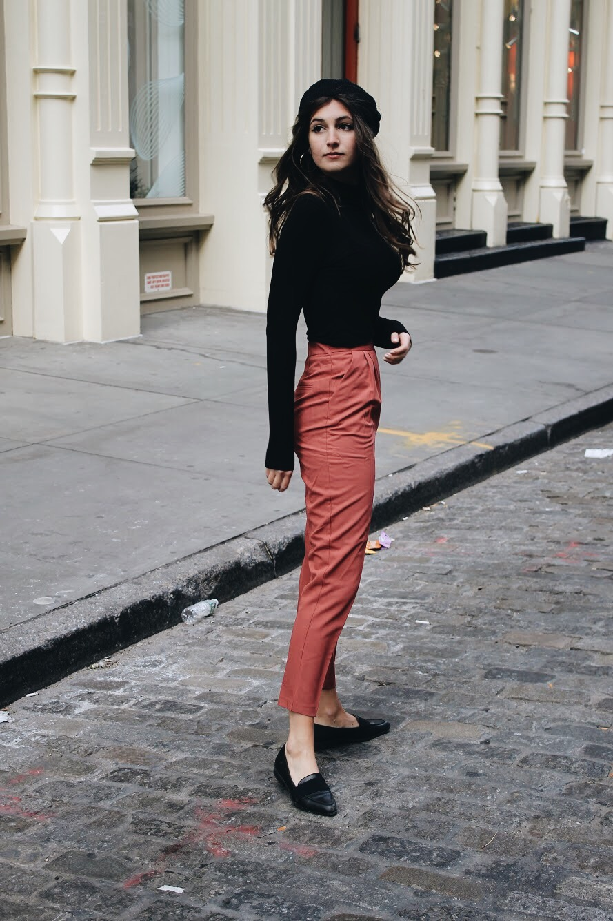Pink Trousers & Beret | www.whatkumquat.com