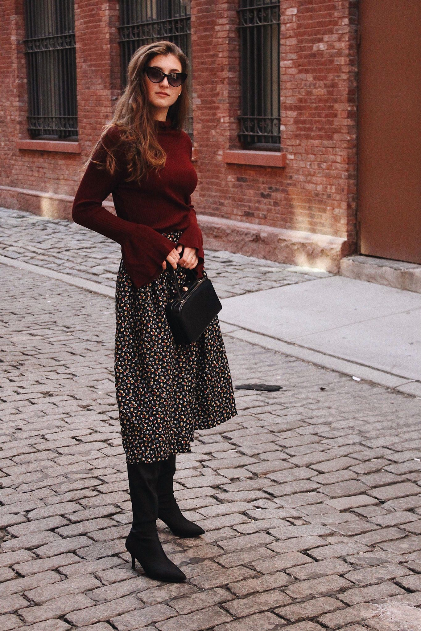 How to style a turtleneck and midi skirt | whatkumquat.com